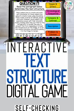 Interactive text structure digital game. Review nonfiction text structures in a fun and engaging way with this DIGITAL Text Structure Review Activity! Play as a whole group, small group, or even during distance learning! With 30 example passages for text structure for students to practice, this resource is sure to help them master that standard.