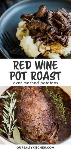 This braised red wine pot roast is an easy one pot recipe the entire family will love! It's a perfect fall recipe served over buttery mashed potatoes. Chuck Roast Dutch Oven, Roast Recipe Dutch Oven, Chuck Roast Recipe Oven, Chuck Roast Recipes, Dutch Oven Recipes, Pot Roast Recipes, Pot Roast In Oven, Beef Chuck Roast, Amish Recipes