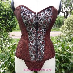 Brown Steel Boned Steampunk Style Corset Sexy Front Zipper Corset... (38 CAD) ❤ liked on Polyvore featuring intimates, shapewear, corset, brown, lingerie and women's clothing