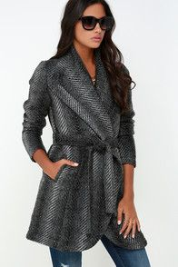 Jack by BB Dakota Abra Dark Grey Belted Coat