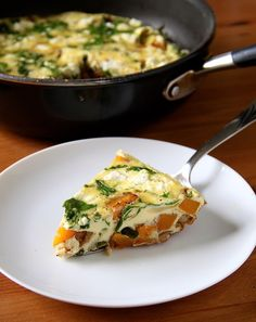 Butternut squash, kale and garlic scape frittata