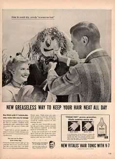 1954 Vitalis Mens Hair Grooming Original Health and Beauty Print Ad -An original vintage 1954 advertisement, not a reproduction -Measures approximately x to x -Ready for matting and fr
