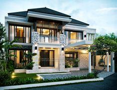 Restoq Private House - Cilangkap, Jakarta Timur- Quality house design of architectural services, experienced professional Bali Villa Tropical designs from Emporio Architect. Unique House Design, Dream Home Design, Villa Design, Style At Home, Interior Exterior, Exterior Design, Modern Family House, Philippine Houses, Facade House