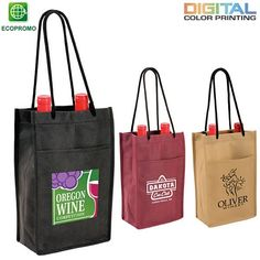 Promotional Non-Woven Double Bottle Wine Bag Full Color Digital | Customized Wine Bags | Promotional Wine Bags