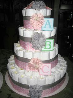 Diaper cake by RB _ pink abc