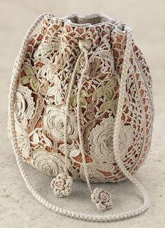 Irish crochet lace bag