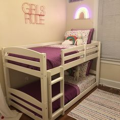 Mind-blowing girls room diy - read our story for more designs! Low Bunk Beds, Toddler Bunk Beds, Bunk Beds For Girls Room, Beds For Small Rooms, Bunk Bed Rooms, Bunk Bed With Desk, Bunk Beds With Stairs, Girls Bedroom, Bunk Beds For Toddlers