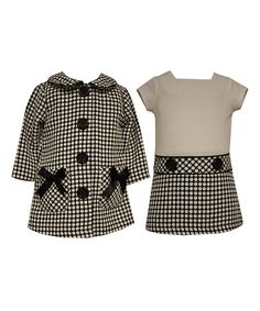 Another great find on #zulily! Black & White Abstract Drop-Waist Dress & Button-Up Coat - Infant #zulilyfinds