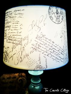 DIY French Script Lamp Shade ~ wonder...could you use a blank shade for signatures and greetings at a shower, wedding, or anniversary party? Could be a super cute guest book idea!