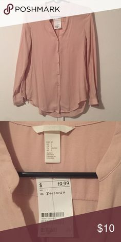 H&M Blush Blouse!!! HM long sleeve blush colored blouse. Blouse is a bit sheer with button down front. 100% Polyester. Never been worn!!! ABSOLUTELY NO TRADES!!! H&M Tops Blouses