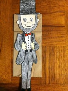 Abraham Lincoln Paper Bag Puppet product from Melissas-Corner on TeachersNotebook.com