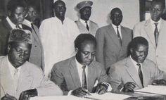 Presidents Modibo Keita of Mali, Kwame Nkrumah of Ghana and Sekou Toure of Guinea sign agreements for the union of African.