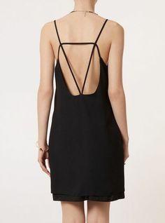 Black Sleeveless Spaghetti Straps Backless Dress