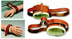 Leather wrist restraint haunted house prop