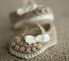 Crochet Baby Booties - Baby Girl Booties -  Little Bo Peep Mary Janes on Etsy, $17.57