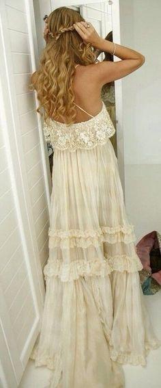 Bohemian beach wedding dress
