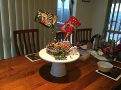 M&M and skittle cake!!