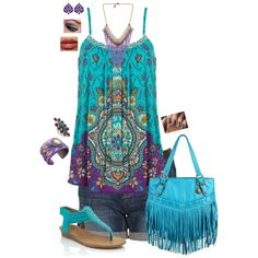 ☮ American Hippie Bohemian Style ~ Boho Summer Festival Outfit .. Tie Dye Turquoise!
