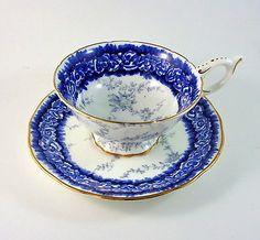Cobalt Blue Border with Gray Design Coalport Tea Cup and Saucer Set
