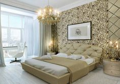 Modern Bedroom Wall Decor - Bedroom decorating ideas should reproduce a feeling of serenity and tranquility, allure and charm Wallpaper Design For Bedroom, Bedroom Wall Designs, Accent Wall Bedroom, Home Decor Bedroom, Bedroom Ideas, Wallpaper Designs, Gold Bedroom, Modern Wallpaper, Bedroom Furniture