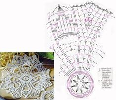 Crochet Books, Crochet Home, Thread Crochet, Crochet Crafts, Crochet Doilies, Crochet Stitches, Filet Crochet, Crochet Diagram, Doily Patterns