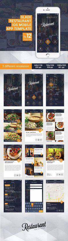 Buy Slade Restaurant iOS Mobile App Template by SladeDesign on GraphicRiver. Slade Restaurant iOS Mobile App Template Restaurant app template is designed for Restaurants and Cafe lounge mobile a. Android App Design, Ios App Design, Iphone App Design, Android Ui, Mobile Application Design, Mobile Ui Design, App Design Inspiration, Web Design, Site Design
