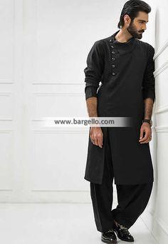 Designer black cotton kurta for mens pakistani casual menswear Gents Kurta Design, Boys Kurta Design, Man Kurta Designs, Kurta Pajama Men, Kurta Men, Pakistani Mens Kurta, Indian Men Fashion, Mens Fashion, Fashion Tips