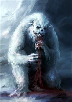 This would haunt my nightmares. Yeti Creature, Beast Creature, Ice Monster, Monster Art, Monster Concept Art, Fantasy Monster, Creature Concept Art, Creature Design, Fantasy Creatures