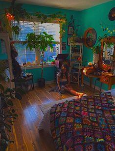 Indie Room Decor, Cute Room Decor, Aesthetic Room Decor, Hippie Bedroom Decor, Hippie Bedrooms, Vintage Bedroom Decor, Room Design Bedroom, Room Ideas Bedroom, Bedroom Inspo