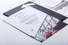 Modern, bold, graphic custom letterpress wedding invitation suite in grey and red on white with Roosevelt Island/ski theme combining modern and script typography by Hartford Prints! www.hartfordprints.com