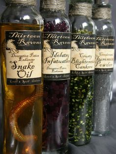 These are so awesome. Gotta try this for Halloween! Witch Curio Potion Bottles Complete with Faux Ingredients via Etsy