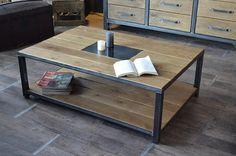Création et Réalisation: MICHELI Design - Entreprise Artisanale  Fabriquée dans notre atelier, cette table basse industrielle en bois  et métal dégage un esprit industriel u - 13222411