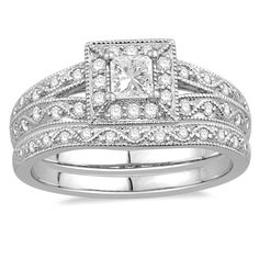14K White Gold Orian Bridal Wedding Set   Rogers Jewelry Co.