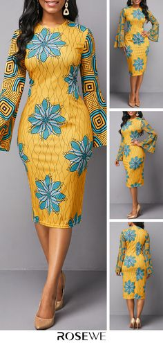 Dresses For Women African Fashion Dresses, African Dress, African Style, Fashion Mode, Womens Fashion, Flower Dresses, Winter Dresses, Yellow Dress, Flower Prints