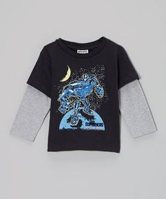 Take a look at this Black 'Superhero' Layered Tee - Infant, Toddler & Boys by Mish Mish on #zulily today!
