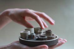 Set of 14 wheel thrown ceramic vessels. Tiny by stonewarestudiouk