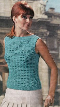 Vintage Knitting Pattern Instructions for Ladies Sleeveless Jumper/Top 4 Sizes