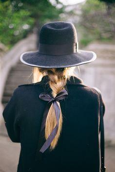 hat + braid + bow