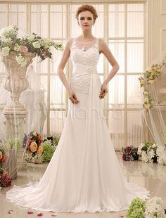 Vestido de novia de chifón con escote redondo y manga de cola capilla