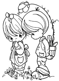 Precious Moments Girl and Boy Coloring Page