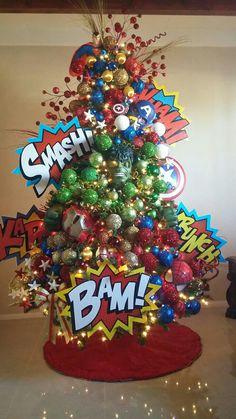 superhero Xmas tree, done by Claudia Vega from Tucson, Az