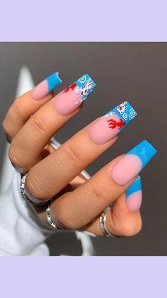 Blue Acrylic Nails, Simple Acrylic Nails, Acrylic Nail Designs, Edgy Nails, Stylish Nails, Swag Nails, Drip Nails, Gel Nails, Nail Polish