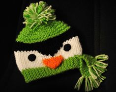 Penguin Beanie Knitting PATTERN for Size 0-4 Years