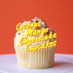 Coconut vanilla cheesecake cupcakes with bits of juicy sweet mango baked in!