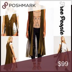 """FREE PEOPLE Long Cardigan Vest 💟 NEW WITH TAGS 💟 Retail: $128  FREE PEOPLE Swing Cardi Long Cardigan Duster Cape   * Relaxed, slouchy oversized fit & swing style.   * Open front w/tie detail & relaxed silhouette  * Super soft loose knit construction  * Approx 43""""   * Front vents & back overlay detail   Color: Army. Fabric: Linen, 42% rayon   Item#F97900 Chiffon cape 🚫No Trades🚫 ✅ Offers Considered*✅  *Please use the blue 'offer' button to submit an offer Free People Sweaters Cardigans"""