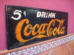 """reciclaiRetro: Cartel """"Coca-Cola DRINK"""" Precio 80€. Hecho sobre madera."""