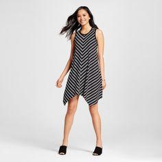 Women's Striped Sharkbite Tank Dress Black Xxl - Mossimo