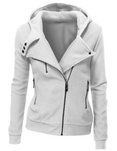 Amazon.com: Doublju Women's Fleece Zip-Up High Neck Jacket: Clothing