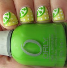 Lime nails, I'm going to try this! OPI Alpine Snow, and Orly Fresh Fancy Nails, Pretty Nails, Nail Bling, Nail Polish Designs, Nail Art Designs, Lime Nails, Nail Envy, Opi Nails, Fresh Lime