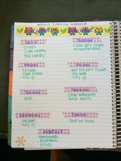 Weekly Cleaning Schedule using washi tape in my Erin Condren planner
